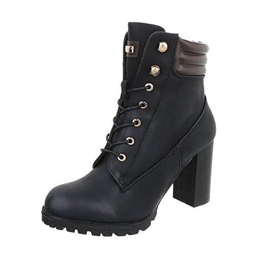 Ital-Design Schnürstiefeletten Damen-Schuhe Schnürstiefeletten Pump High Heels Reißverschluss Stiefeletten Schwarz, Gr 38, S89-