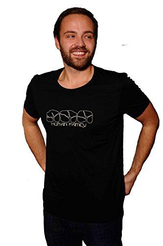 Human Family - Fair Trade Herren T-Shirt mit Logo Print aus Bio Baumwolle in schwarz und navy Schwarz