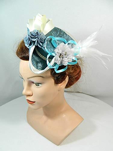 Mini Dreispitz blau Brokat Marie Antoinette Barock Rokoko Western Headpiece Haarschmuck Dirndl ()