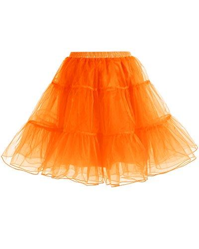 Gardenwed Vintage Damen 1950er Rockabilly Mini Tutu Kleid Retro Petticoat Unterrock Orange