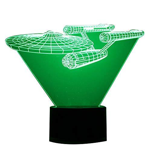 3D optische Illusion-Raumschiff-Schreibtischlampe, 7-Farbwechsel-Taste, USB-Nachtlicht produziert einzigartige Visualisierungslichteffekte, Kunst-Skulptur-Licht, acryl, Space Ship, 7.4*5.7inch