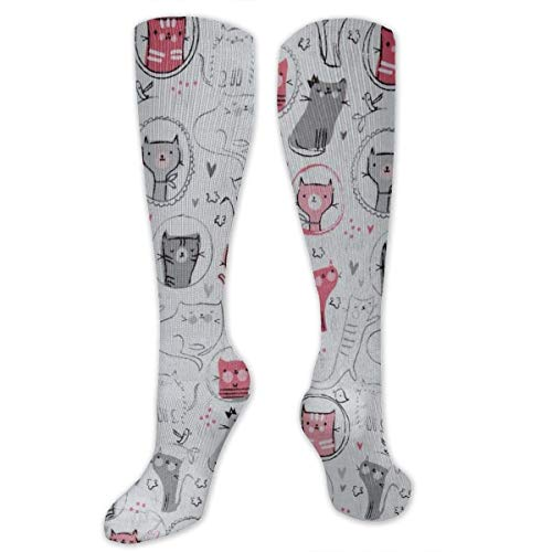 Crazy Cat Woman Kostüm - Gped Kniestrümpfe,Socken, Whiskers Tails Crazy Cats Compression Socks for Women & Men - Best for Running, Athletic Sports, Crossfit, Flight Travel -Maternity Pregnancy, Shin Splints - Below Knee High