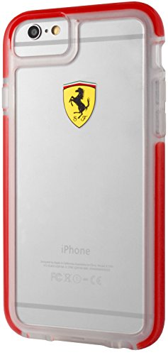 Ferrari FEGLHCP6RE Racing Shield Shockproof Hard Case für Apple iPhone 6/6S rot/transparent rot/transparent