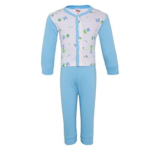 TWGE Men's and Women's Cotton Night Wear Pyjama Shirt Combo Set Sinker Soft Material - Full Sleeves (TG_NS_007_M, Blue, 12-18 Months)