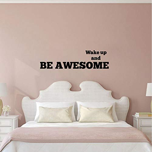 Wuyyii 90X24Cm Inspirational Schlafzimmer Wandsticker - Wake Up And Be Awesome - Kinderzimmer & Kinderzimmer Schlafzimmer Morgen Motivation Zitate WandtattoosA