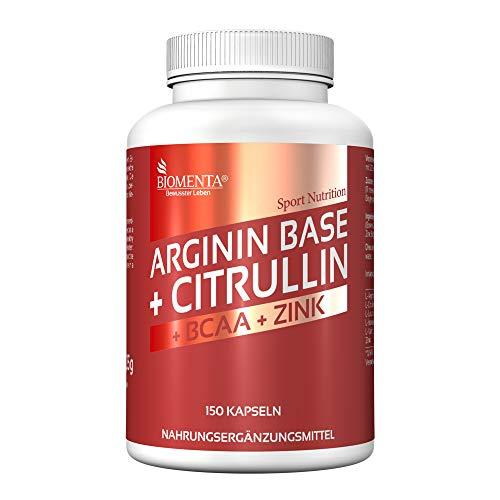 BIOMENTA L-ARGININA e CITRULLINA + BCAA | 3.500 mg L-Arginine BASE + 1.000 mg L-Citrullina Malato + 1.000 mg BCAA (Aminoacidi 2:1:1 Leucina, Isoleucina, Valina) + Zinco | 150 L-Arginina Capsules