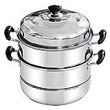 Marmite à vapeur à induction antiadhésive Gourmet |Pot à soupe |Insert de cuisson à la vapeur avec couvercle en verre et poignée en bakélite | 32cm |