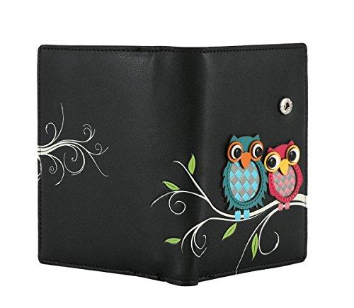 RFID borsa del portafoglio MENKAI disegno Buhos 773C2 Balsam Verde Black