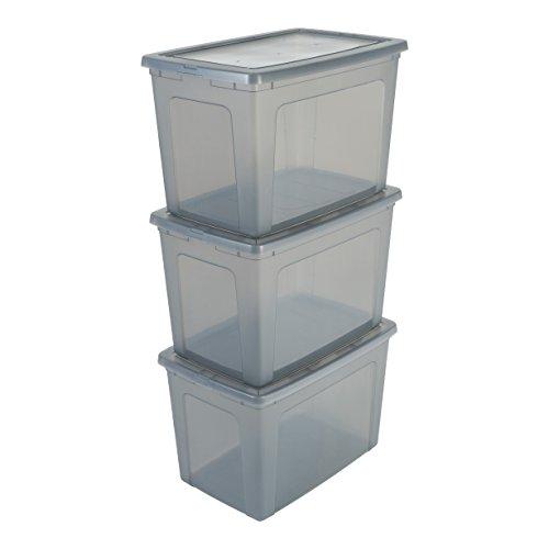 IRIS MCB-70 x3 Hgrey tr, 3er-Set Aufbewahrungsboxen / Kisten mit Deckel / Stapelboxen \'Modular Clear Box\', MCB-70, Kunststoff, transparentes Grau, 70 L, 59,5 x 39,5 x 38,5 cm
