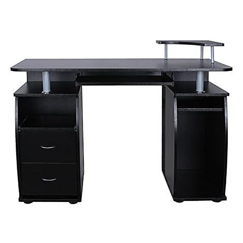 Songmics Bureau Informatique Table de l'ordinateur avec 2 Tiroirs et