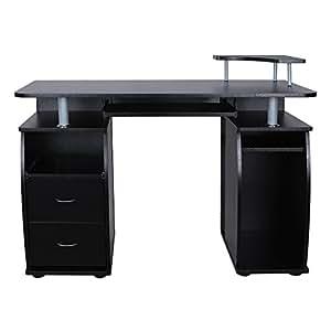 songmics bureau informatique table de l 39 ordinateur avec 2 tiroirs et une pluralit d 39 tag res. Black Bedroom Furniture Sets. Home Design Ideas