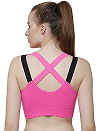 9fad1ee1d9 webboon Shockproof Quick Dry Padded Sports Bra for Sports Gym Yoga Dancing  Workout Aerobic Running Jogging Cotton Bra