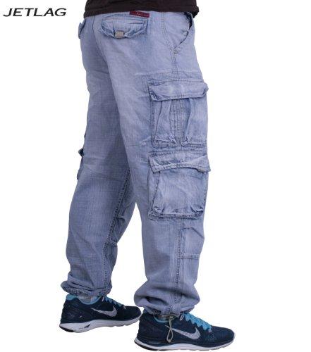 Pantalon cargo modèle jET était 007 pantalon de jean pour homme-denim bleached f524 camouflage avec porte-clés. - Bleached Denim