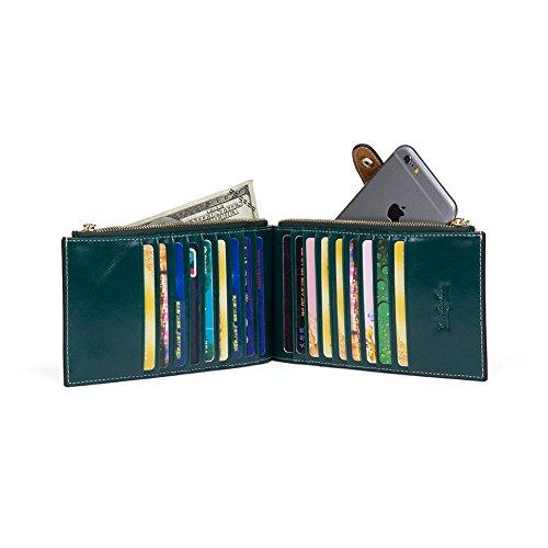 BOSTANTEN Vera Pelle Donna Portafoglio Portamoneta Portatessere Porta Carta Di Credito verde scuro