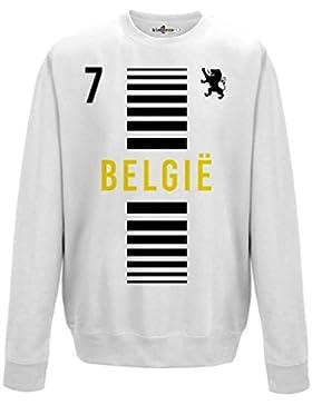 Felpa Girocollo Uomo Nazionale Sportiva Belgio Belgique 7 Calcio Sport Europa Leone 2 S