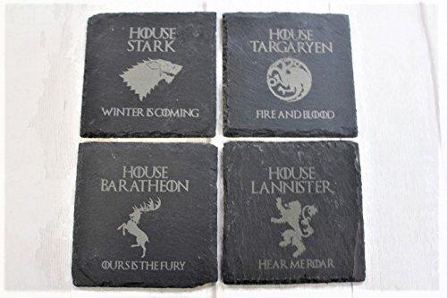 Untersetzerset aus Schiefer mit Motiven aus Game of Thrones, 4Stück –als Geschenk verpackt