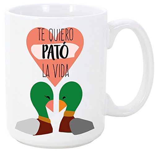 Taza para enamorados / San Valentín - Te quiero Pató la vida - 350 ml - Tazas desayuno originales con frases de regalo para novios / novias …