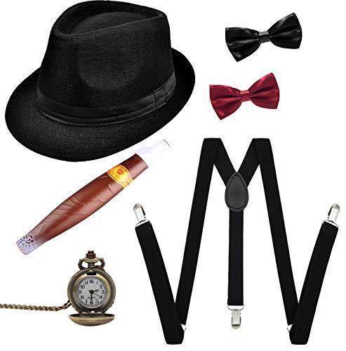 Kostüm 1920er Themed - Elsa & Martin 20er Herren kostüm Gatsby 1920S Mens Accessoires Zubehör Set(schwarz)