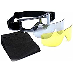 WorldShopping4U X800 Airsoft Tactical Protect Porter des lunettes de verres transparents 3xLens Motorcycle Eye