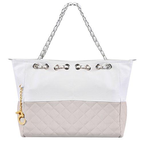 Damenhandtasche - All4you übergroße Tasche Schulter Handtasche mit Kette Straps(Grey) (Übergroße Handtasche)