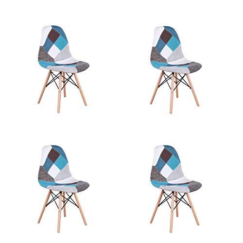 WV LeisureMaster Lot de 4 Fauteuil Salon en Lin avec Patchwork, Chaise de Style Scandinave Nordique, Multicolore (Bleu)