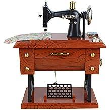 LIOOBO Máquina de Coser Musical Caja de música Aspecto Vintage Mesa Escritorio decoración Juguete Regalo para