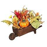 Schubkarre Blumenkasten Holz Auto Dekoration Simulation Kürbis Maple Garten Home Dekoration Dreirad Geeignet für Hochzeitsfeier oder Weihnachtsfeier