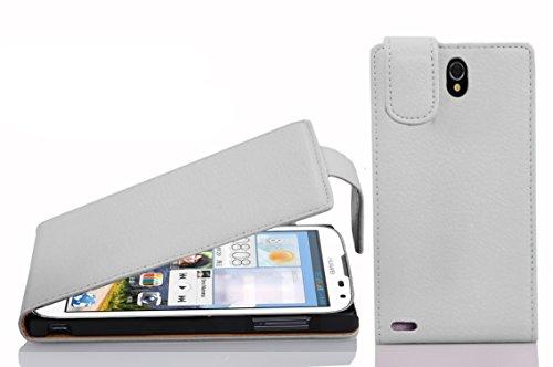 Cadorabo Hülle für Huawei Ascend G610 Hülle in Handyhülle aus Strukturiertem Kunstleder im Flip Design Case Cover Schutzhülle Etui Tasche Magnesium Weiß