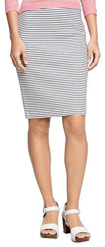 ESPRIT Damen Bleistift Rock aus Jersey, Knielang, Gr. 38 (Herstellergröße: M), Weiß (OFF WHITE 110)