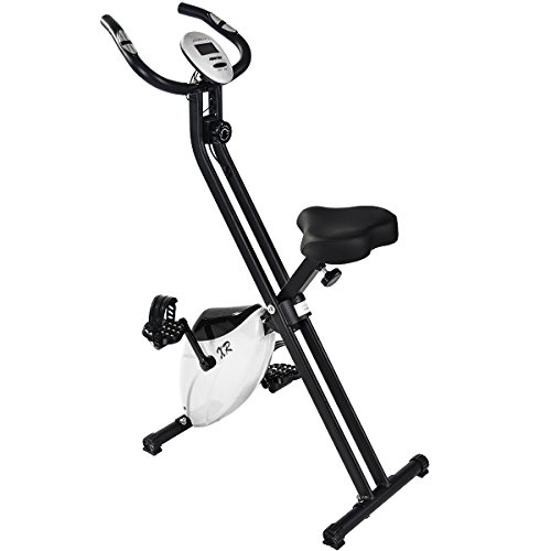 Merax® Heimtarainer klappbare F-Bike Ergometer Fitnessbike Hometrainer Fitnessfahrrad mit Handpulssensoren/Magnetwiderstand/Trainingscomputer/LCD Display (Weiß)