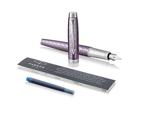 PARKER IM-Füllfederhalter, Premium Dark Violet, Federstärke M, Nachfülltintenpatrone mit blauer...