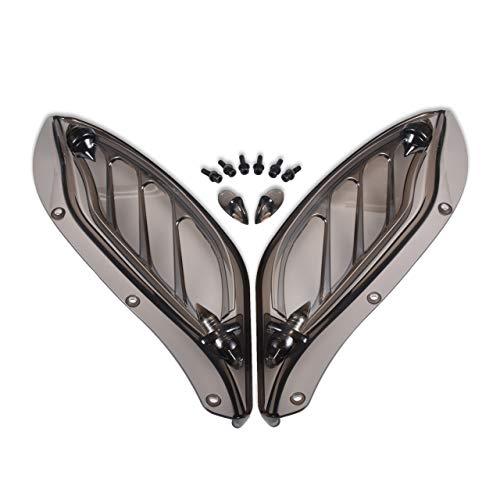 KaTur Motorrad Verstellbarer Luftkotflügel Windabweiser für Harley Touring 96-13 Smoke