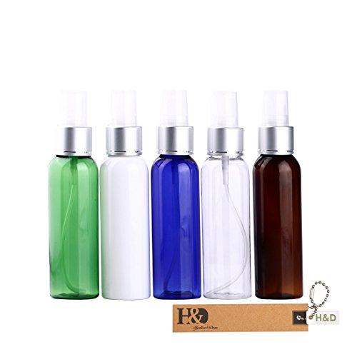 Aromatherapie Feuchtigkeitsspendende Vitamine (H & D Multicolor Kosmetik Kunststoff Flasche Probe leer nachfüllbar Container Cosmetics Dosierpumpe aus Plastik Verpackung Flasche Reise Probenbehälter Kosmetiktasche Travel Flasche, 5x von Pack Aluminum cap spray bottle)