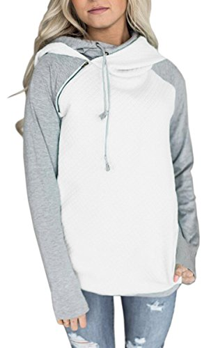 ECOWISH Damen Kontrastfarbe Pulli Pullover Rollkragen Sweatshirt Kapuzenpulli Top Hoodies Weiß L