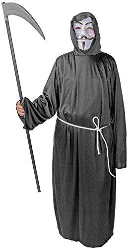 Henker Kutte Kapuze Maske Grim-Reaper Kostüm Robe Mönch-Kutte schwarz Halloween-Kostüm Tod (Gr. 54/56) Umhang Herren Vendetta - Grim Reaper Robe Kostüm