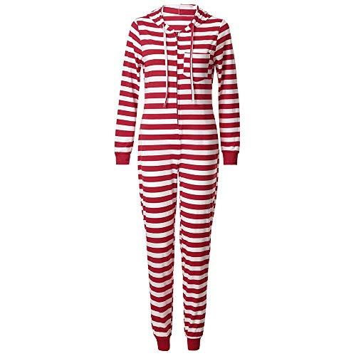 chlafanzüge für die Ganze Familie, Motiv: Weihnachtself mit roten Streifen, Weihnachtspyjama, passende Sets Nachtwäsche Mit Kapuze Gestreifte Strampler-Familienkleidung ()