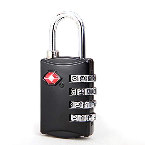 Tsa Genehmigt Koffer-schlösser (XINJIA TSA-Gepäckschlösser, Passwortschloss mit 4 Zifferblättern, Reise-Vorhängeschloss, TSA-genehmigt, Passwortschloss für Gepäck, Koffer, Gepäck schwarz Schwarz 15 * 10 * 3mm)
