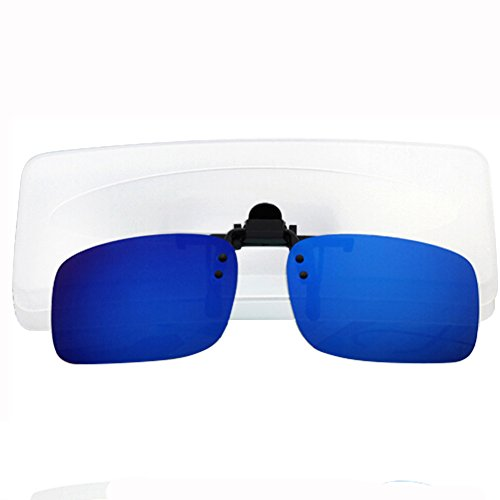 TININNA Unisexe UV400 Clip Sonnenbrille Clip Bride Polarisiert Flip Myopie Brille Clip Polarisierter Bleu Argent