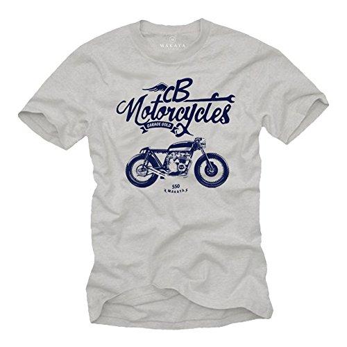 Regalos Originales - Camiseta Moto GP Hombre - Vintage Honda CB 500 Gris M