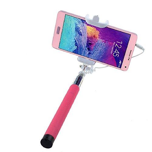 ARTLU® Selfie-Stange Selfie-Stick Teleskop-Stange Selfie Stick in 9 verschiedenen Farben Monopod Selfie Einbeinstativ Ausziehbare Stick (Nein Bluetooth) mit Einstellbaren Klemme für Smartphones, iPhone, Samsung, Huawei, LG, Sony--Rose