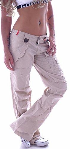 Style-Station Damen Cargohose Cargo Jeans Hose Hüfthose Boyfriend Chino Taschen Baggy B106 (M 38, Beige)