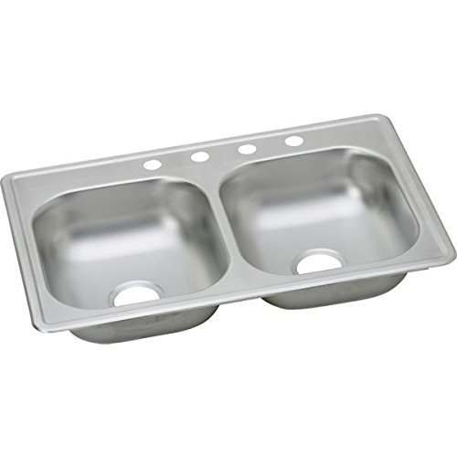 Bowl Top Mount Kitchen Sink (Elkay K23319MR2 Kingsford 23 Gauge Stainless Steel Double Bowl Top Mount Kitchen Sink, 33 x 19 x 6 by Elkay)