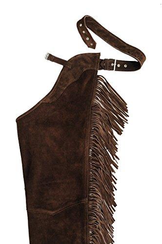 Chaps Leder Herren Lederchaps Fransenhose Lederhose Lederjeans Chaps Fuente Fransenhose Damen Herren Cowboy Indianer Western REIT Braun (M, Braun) -