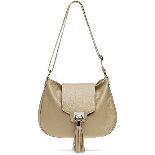 CASPAR TL768 Damen große echt Leder Umhängetasche Lederhandtasche Messenger Bag mit langem...