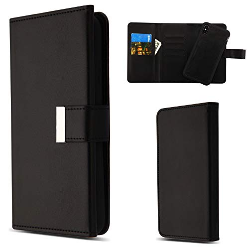 Klappschutzhülle für Apple iPhone XS Max/XS Plus (16,5 Zoll), Abnehmbarer Magnetverschluss, 2-in-1-Geldbörse, abnehmbare Rückseite, PU-Leder, Schwarz ()