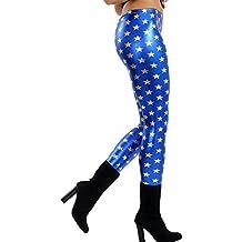 834ea92431bc98 Islander Fashions Damen Blue Leggings mit glnzenden Sternen Metallic Damen  Fancy Party Wear Hosen S,