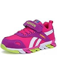 aemember Boys 'zapatos de microfibra sintética primavera otoño Luz suela zapatos de Athletic zapatos de senderismo Hook & Loop cordones para Athletic Royal azul rojo, US2 / EU33 / UK1 Little Kids, fucsia