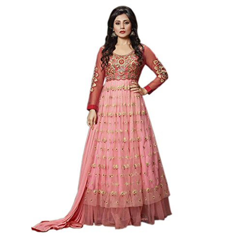 Stylish Fashion Ethnic Empire Designer Peach Pink Embroidered Anarkali Suit for women & girls party wear For Girls For Specail Uses In wedding, engagement , Party Wear, Free Size  available at amazon for Rs.2299