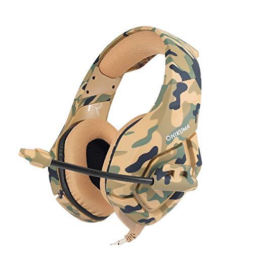 supvox k1-b Gaming Headset Wired Stereo-Spiel Kopfhörer Geräuschunterdrückungs Gaming Kopfhörer mit Mikrofon für PS4Xbox Laptop Computer Handy (gelb Camo) -