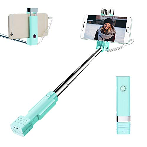 atongm Bastone Selfie Mini Selfie Stick, Wire Selfie Stick per iPhone 6 6S Plus 7 7S Plus + Samsung Galaxy S7 S6 S5 S4 Android/Telefoni Apple (Blu)